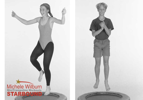 Mini trampoline rebounding exercise workouts for children are presented in my Starbound book of rebounding workouts