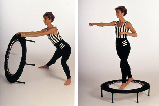 Rebounding exercise workouts using mini trampolines in a variety of exercise workout programmes