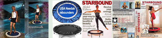 Your choice of Needak rebounder with Starbound rebounder exercise workout DVD and Starboun book of mini trampoline workouts for the best rebouning workouts in the USA
