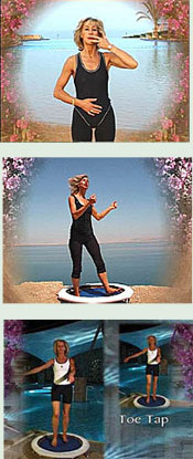 Rebounding exercise workouts on video in The Starbound Workout DVD include a variety of mini trampoline rebounding exercises from beginners to advanced