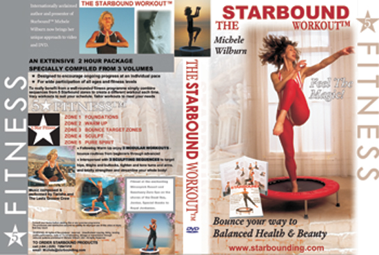 Starbound Workout mini trampoline DVD Volume One compiled from 4 mini trampoline videos into two hours of rebounding exercise workouts from beginners to advanced rebounding exercise workouts on DVD