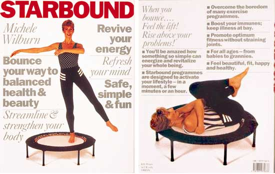 Starbound Book of rebounder exercise workouts provide mini trampoline fitness workouts and healthy lifestyle plans using rebounders as a crentral fovus for workouts at home. You stimulate lymphatic circulationa nd improvde fitness to develop a lean streamlined body