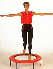Mini trampoline rebounding exercises on a quality mini trampoline rebounder removes sress impact from your knees and cushions your joints